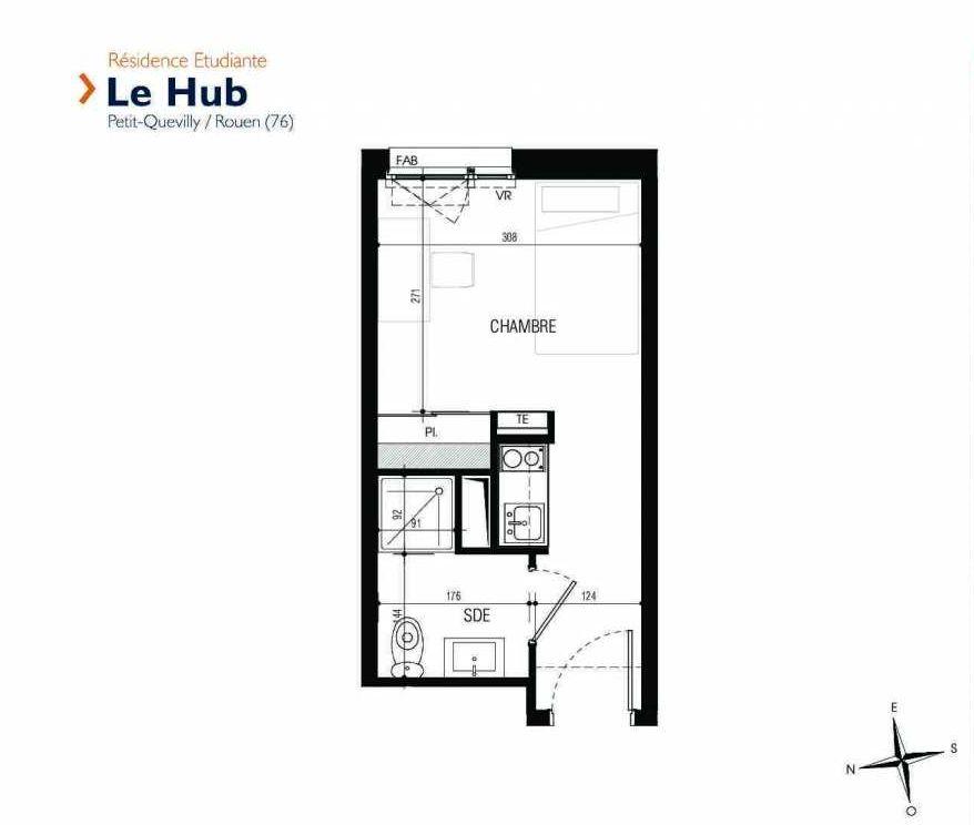 Plan 103, appartement neuf type T1 au 1er étage, faisant 17m² du programme neuf Le Hub à Le Petit-Quevilly.