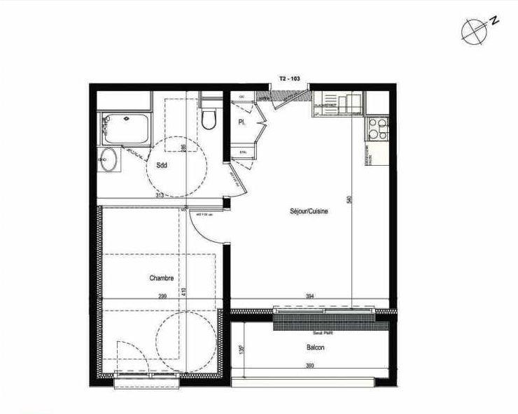 Plan 103, appartement neuf type T2 au 1er étage, faisant 40m² du programme neuf Les Boréales à Rouen.