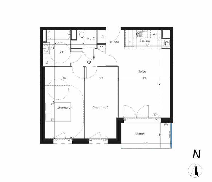 Plan 103, appartement neuf type T3 au 1er étage, orienté Sud faisant 64m² du programme neuf Zenithude à Caen.