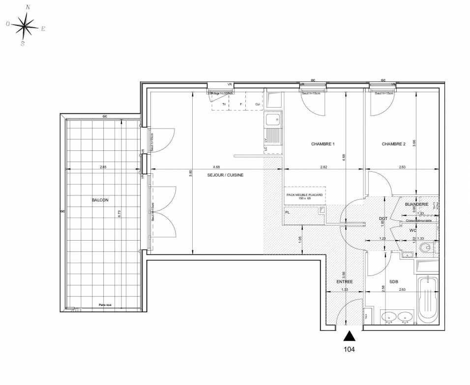 Plan 104, appartement neuf type T3 au 1er étage, orienté Ouest faisant 67m² du programme neuf 124 FONTENAILLE à Aix-en-Provence.