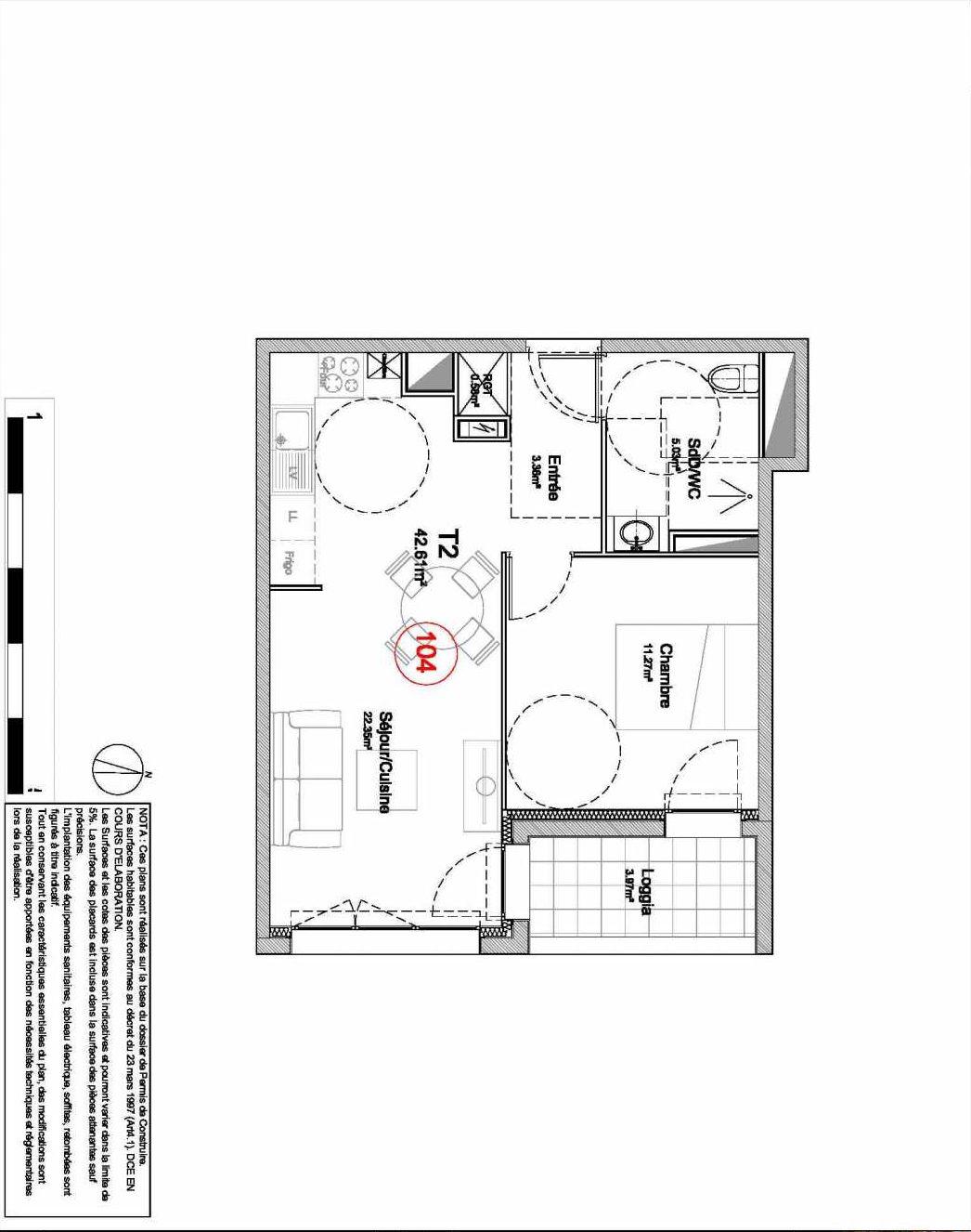 Plan 104, appartement neuf type T2 au 1er étage, orienté Est faisant 43m² du programme neuf 194 OUEST AVENUE à Déville-lès-Rouen.