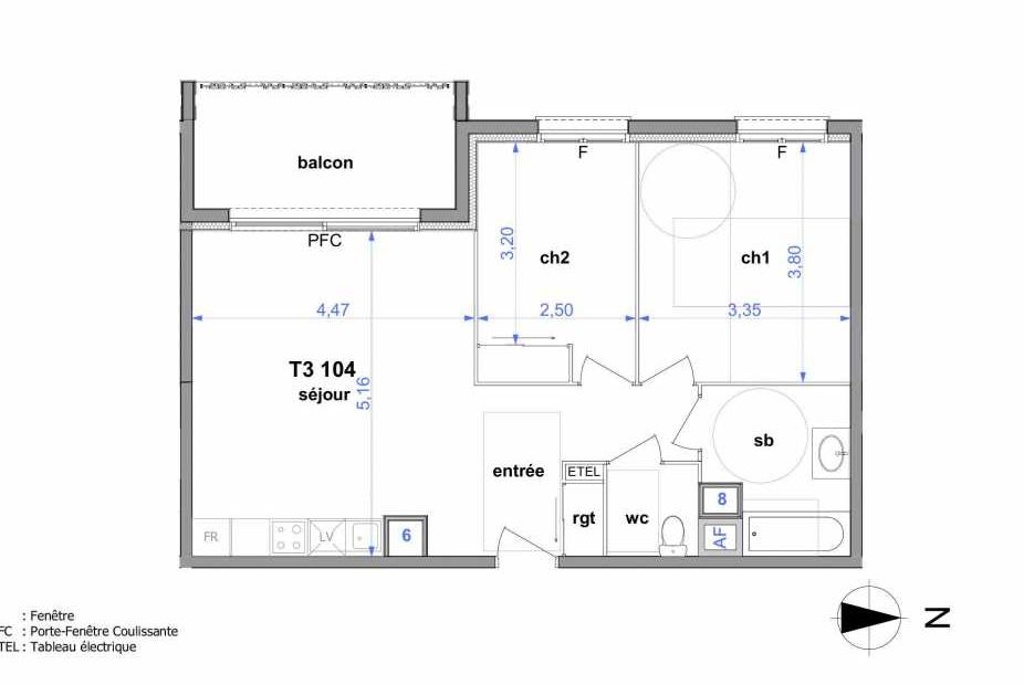 Plan 104, appartement neuf type T3 au 1er étage, orienté Ouest faisant 60m² du programme neuf Au fil de l'O1 à Maromme.