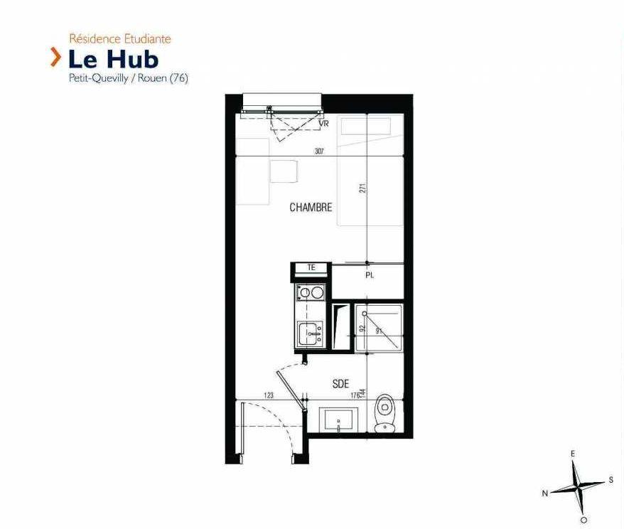 Plan 104, appartement neuf type T1 au 1er étage, faisant 17m² du programme neuf Le Hub à Le Petit-Quevilly.