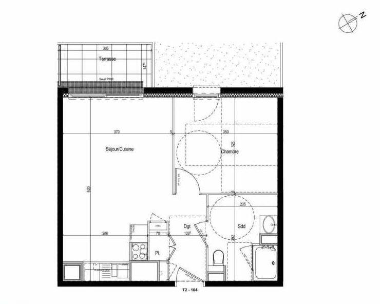 Plan 104, appartement neuf type T2 au 1er étage, faisant 42m² du programme neuf Les Boréales à Rouen.