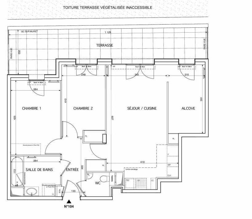 Plan 104, appartement neuf type T3 au 1er étage, orienté Est faisant 69m² du programme neuf WESTMONT à Rueil-Malmaison.