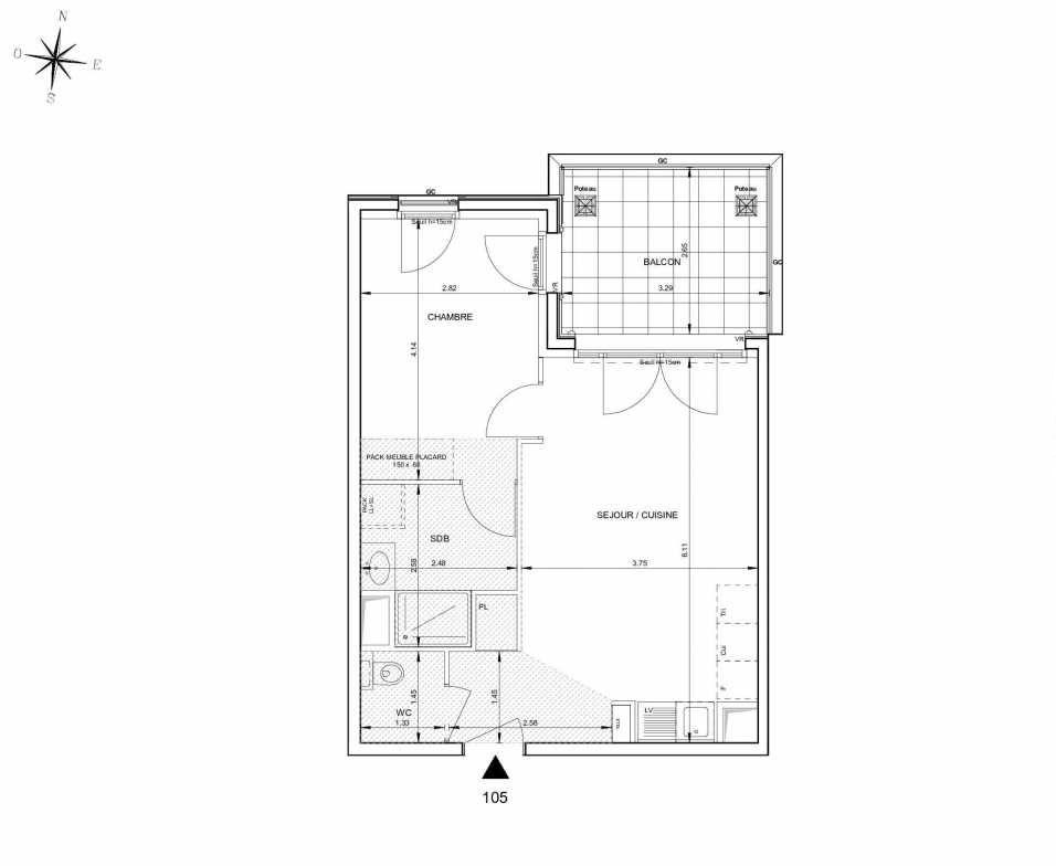 Plan 105, appartement neuf type T2 au 1er étage, orienté Nord faisant 43m² du programme neuf 124 FONTENAILLE à Aix-en-Provence.
