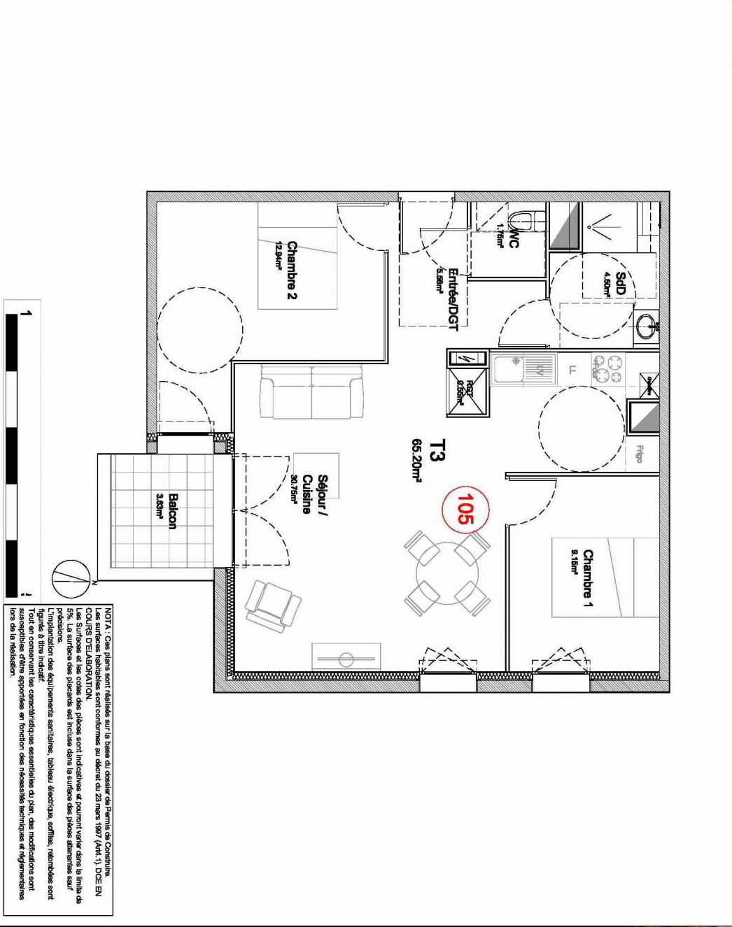 Plan 105, appartement neuf type T3 au Rez de jardin, orienté Sud faisant 65m² du programme neuf 194 OUEST AVENUE à Déville-lès-Rouen.