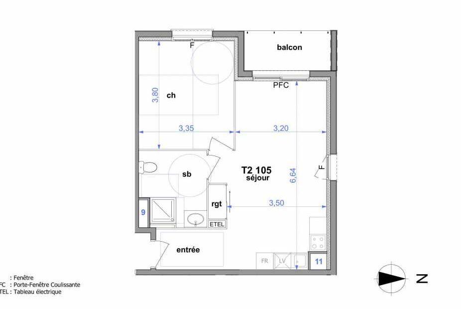 Plan 105, appartement neuf type T2 au 1er étage, orienté Ouest faisant 46m² du programme neuf Au fil de l'O1 à Maromme.