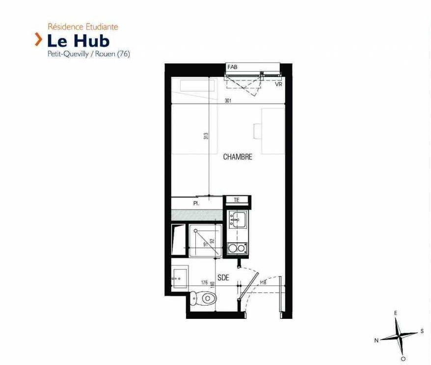 Plan 105, appartement neuf type T1 au 1er étage, faisant 17m² du programme neuf Le Hub à Le Petit-Quevilly.