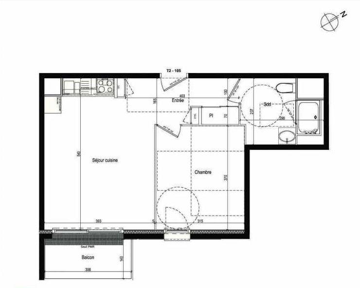 Plan 105, appartement neuf type T2 au 1er étage, faisant 42m² du programme neuf Les Boréales à Rouen.