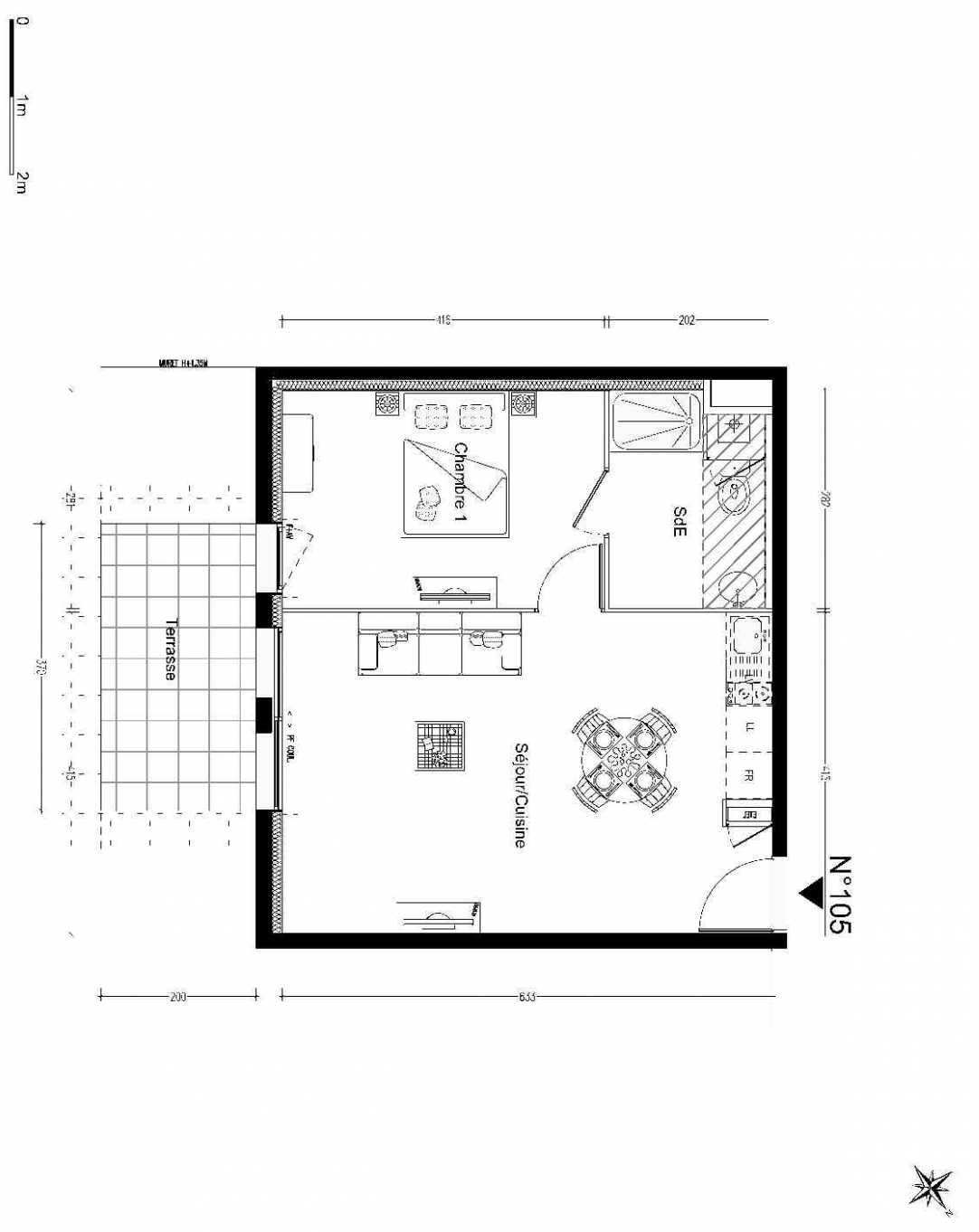 Plan 105, appartement neuf type T2 au Rez de chaussée, orienté Est faisant 43m² du programme neuf POESY COLLECTIF LGTS CLASSIQUES à Montgermont.
