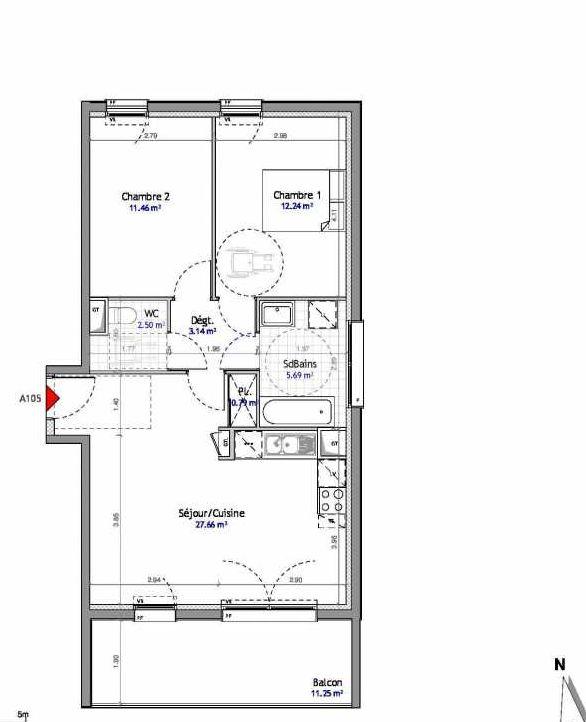 Plan 105, appartement neuf type T3 au 1er étage, orienté Est faisant 63m² du programme neuf SOUTH PARK BAT A NUE PROPRIETE à Amiens.