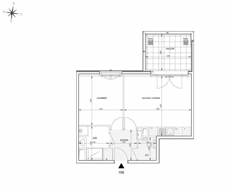Plan 106, appartement neuf type T2 au 1er étage, orienté Nord faisant 43m² du programme neuf 124 FONTENAILLE à Aix-en-Provence.