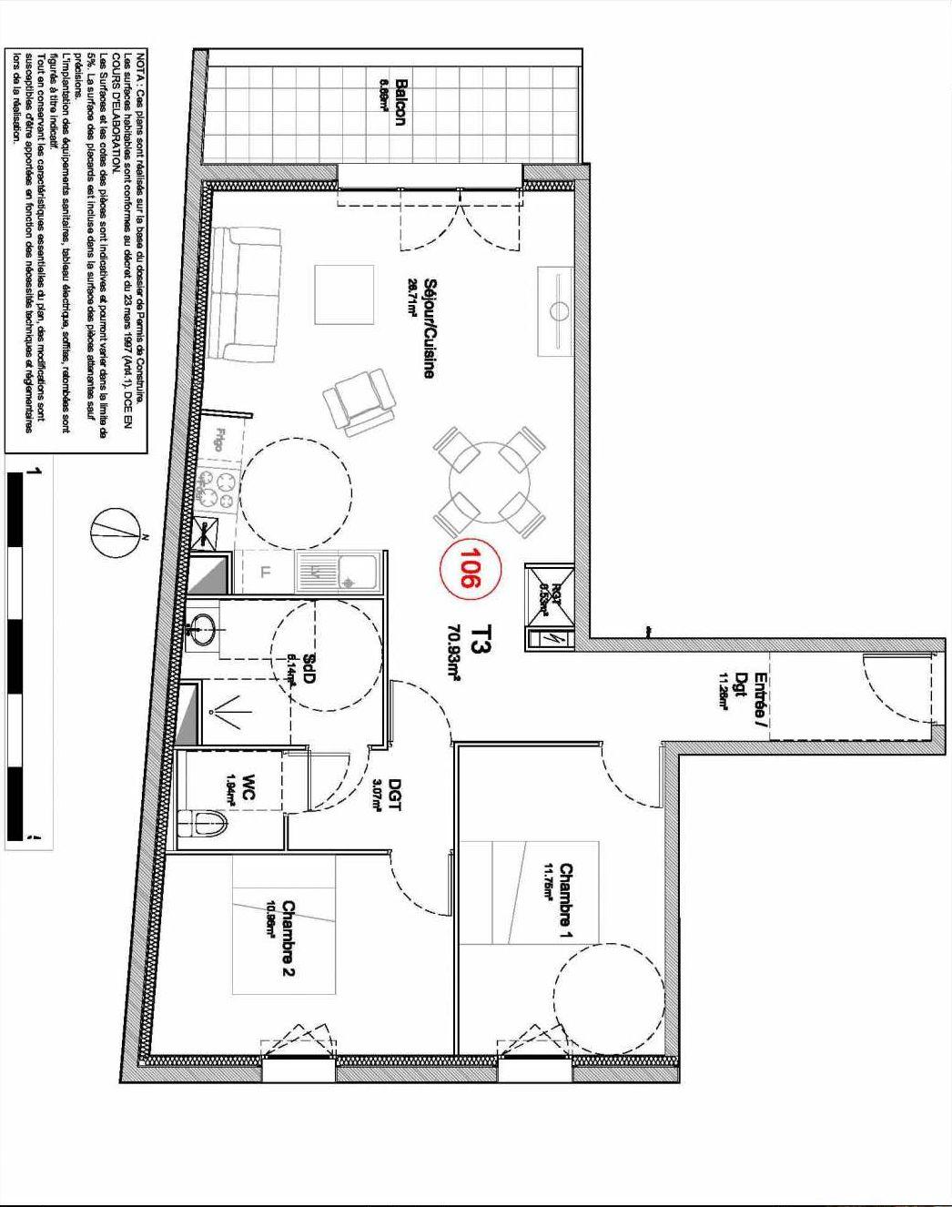 Plan 106, appartement neuf type T3 au 1er étage, orienté Ouest faisant 71m² du programme neuf 194 OUEST AVENUE à Déville-lès-Rouen.