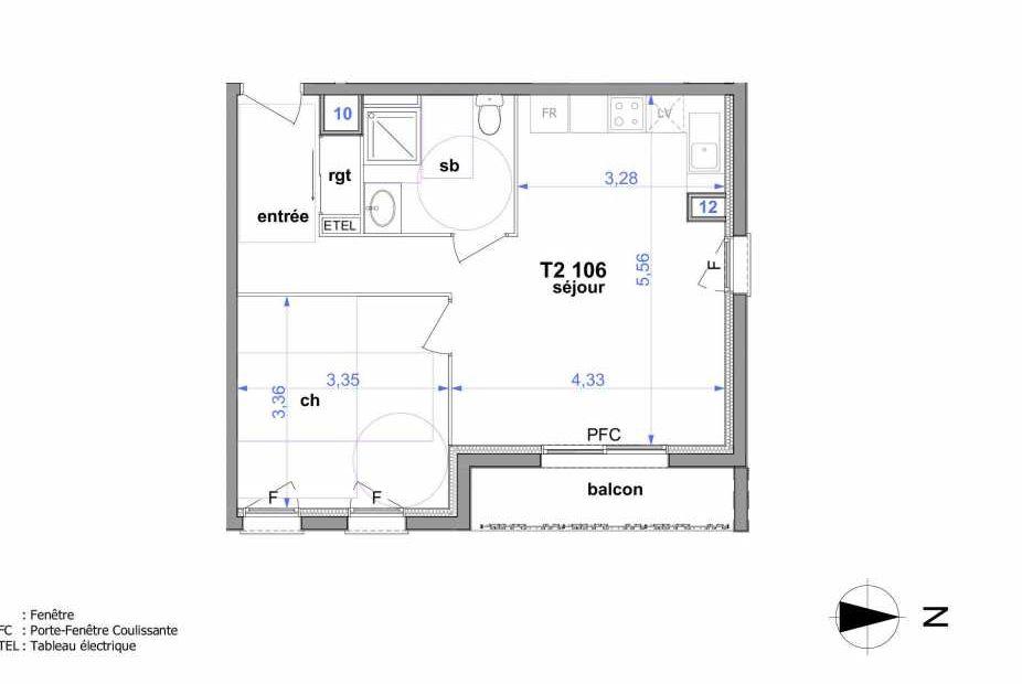 Plan 106, appartement neuf type T2 au 1er étage, orienté Est faisant 45m² du programme neuf Au fil de l'O1 à Maromme.