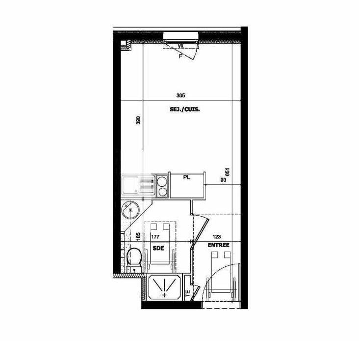 Plan 106, appartement neuf type T1 au 1er étage, orienté Nord faisant 19m² du programme neuf CROIX D'AZUR EURO 13 à Marseille.