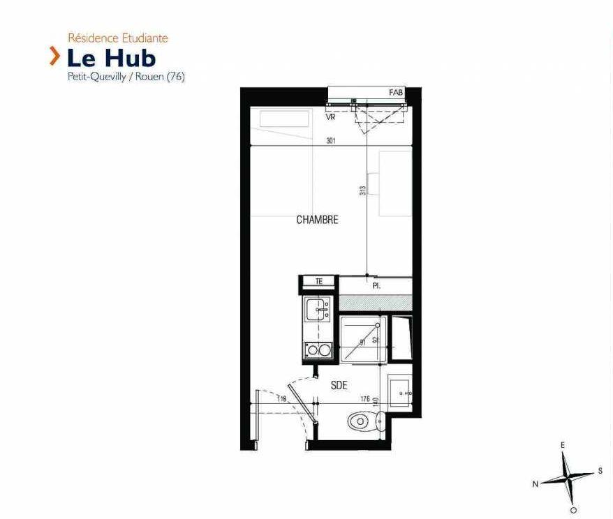 Plan 106, appartement neuf type T1 au 1er étage, faisant 17m² du programme neuf Le Hub à Le Petit-Quevilly.