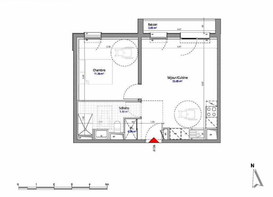 Plan 106, appartement neuf type T2 au 1er étage, orienté Est faisant 42m² du programme neuf SOUTH PARK BAT A NUE PROPRIETE à Amiens.