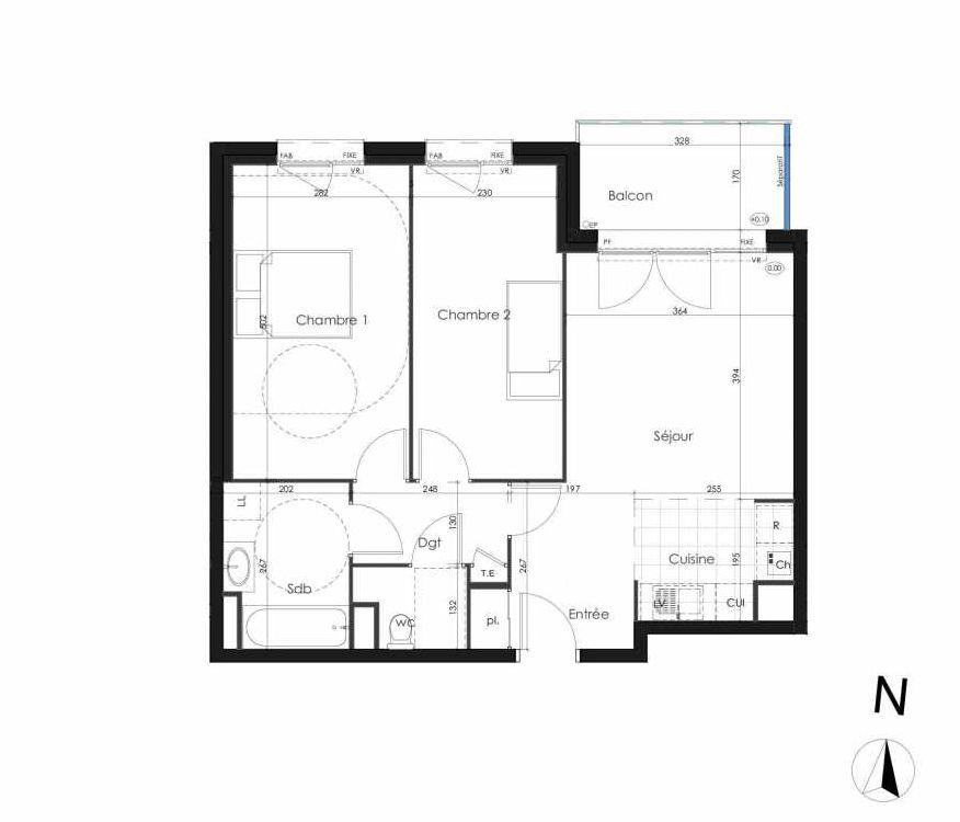 Plan 106, appartement neuf type T3 au 1er étage, orienté Nord faisant 61m² du programme neuf Zenithude à Caen.