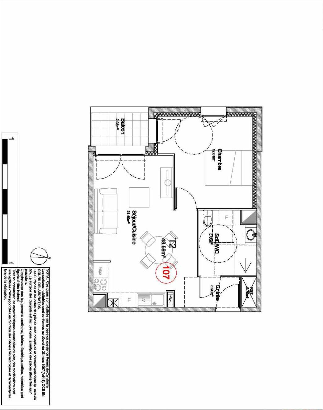 Plan 107, appartement neuf type T2 au 1er étage, orienté Ouest faisant 44m² du programme neuf 194 OUEST AVENUE à Déville-lès-Rouen.