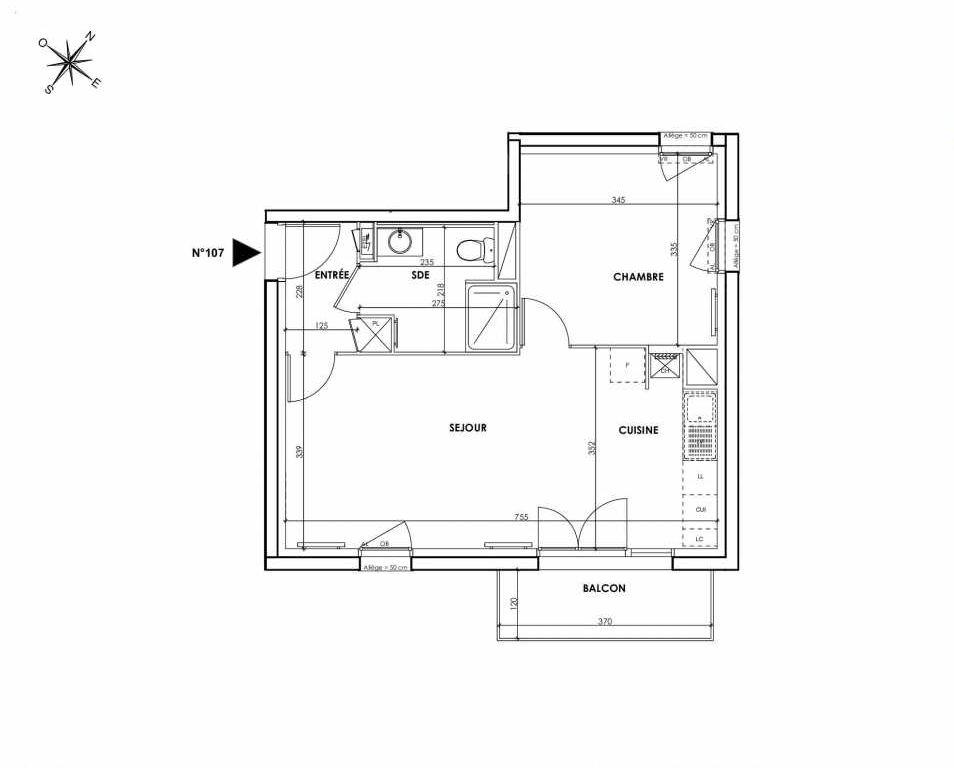 Plan 107, appartement neuf type T2 au 2ème étage, orienté Sud faisant 45m² du programme neuf BEAU SEJOUR à Tourcoing.