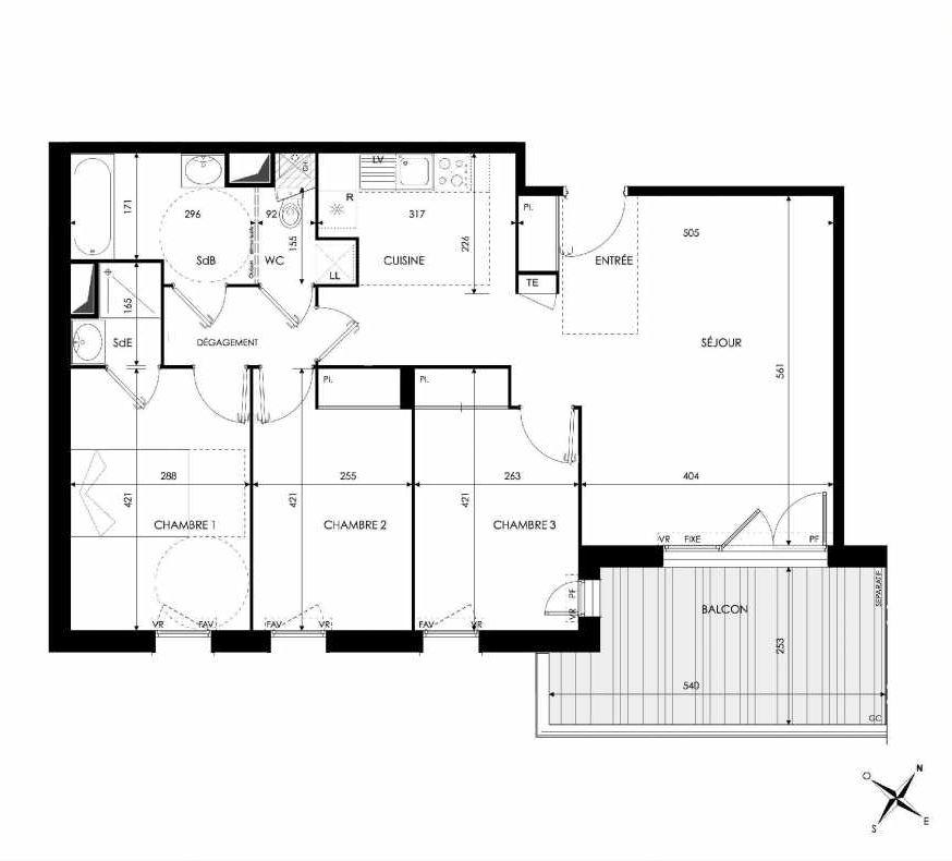 Plan 107, appartement neuf type T4 au 1er étage, orienté Nord faisant 82m² du programme neuf Green Park à Castanet-Tolosan.
