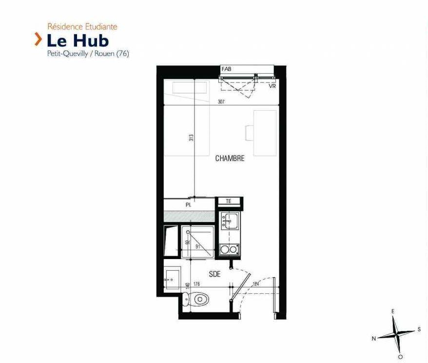 Plan 107, appartement neuf type T1 au 1er étage, faisant 18m² du programme neuf Le Hub à Le Petit-Quevilly.