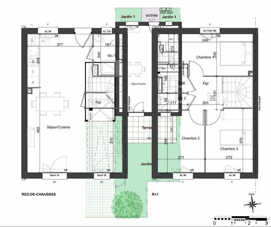 Plan 107, appartement neuf type T4 au Rez de chaussée, orienté Sud faisant 81m² du programme neuf LES JARDINS BELLIS TRANCHE 2 à Bourg-en-Bresse.