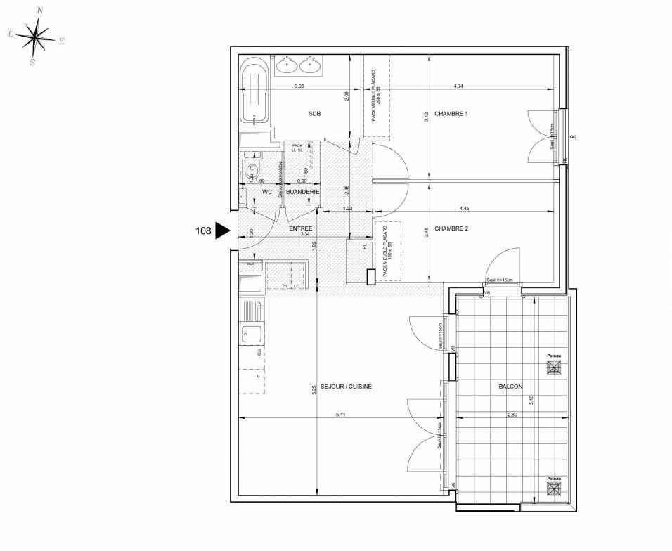 Plan 108, appartement neuf type T3 au 1er étage, orienté Est faisant 69m² du programme neuf 124 FONTENAILLE à Aix-en-Provence.