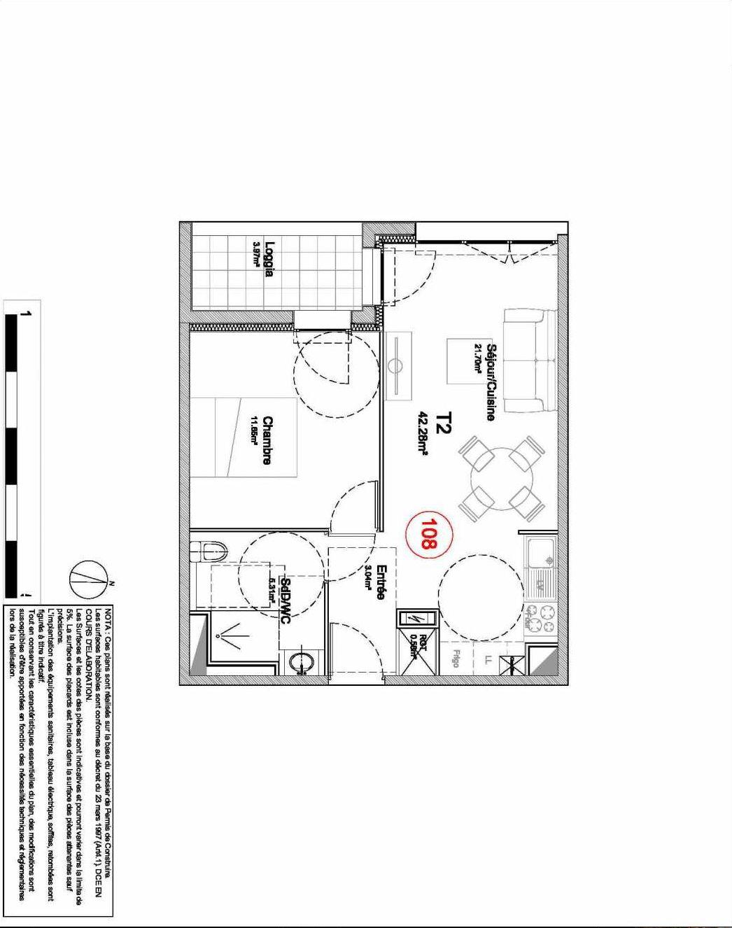 Plan 108, appartement neuf type T2 au 1er étage, orienté Ouest faisant 42m² du programme neuf 194 OUEST AVENUE à Déville-lès-Rouen.