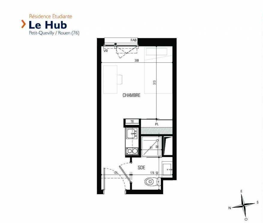 Plan 108, appartement neuf type T1 au 1er étage, faisant 18m² du programme neuf Le Hub à Le Petit-Quevilly.
