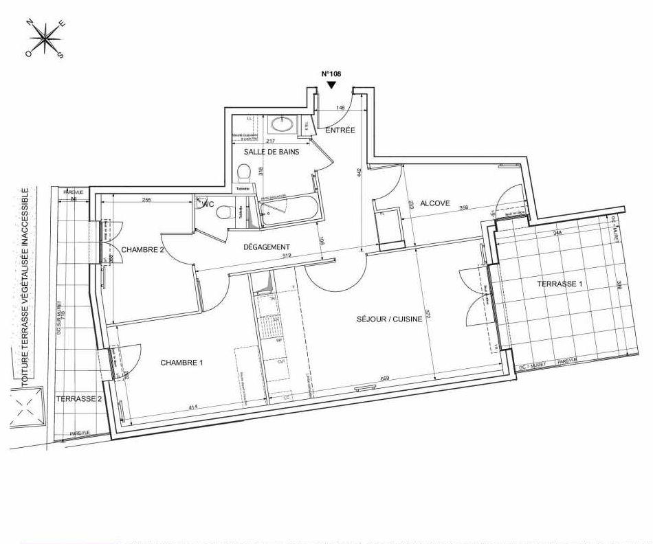 Plan 108, appartement neuf type T3 au 1er étage, orienté Sud faisant 72m² du programme neuf Westmont à Rueil-Malmaison.