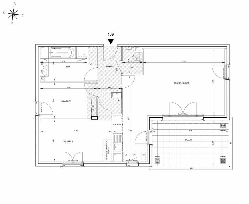 Plan 109, appartement neuf type T3 au 1er étage, orienté Sud faisant 76m² du programme neuf 124 FONTENAILLE à Aix-en-Provence.