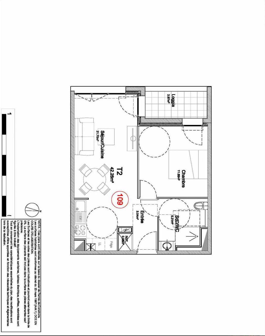 Plan 109, appartement neuf type T2 au 1er étage, orienté Ouest faisant 42m² du programme neuf 194 OUEST AVENUE à Déville-lès-Rouen.