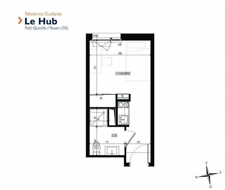 Plan 109, appartement neuf type T1 au 1er étage, faisant 17m² du programme neuf Le Hub à Le Petit-Quevilly.