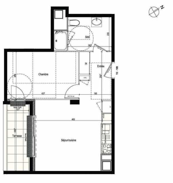 Plan 109, appartement neuf type T2 au 1er étage, faisant 43m² du programme neuf Les Boréales à Rouen.