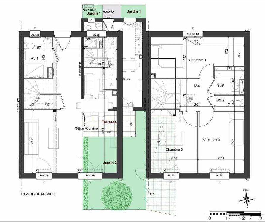 Plan 109, appartement neuf type T4 au Rez de chaussée, orienté Sud faisant 81m² du programme neuf LES JARDINS BELLIS TRANCHE 2 à Bourg-en-Bresse.