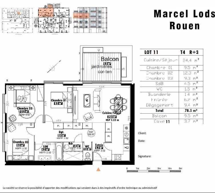 Plan 11, appartement neuf type T4 au 3ème étage, faisant 79m² du programme neuf 15 rue Jean-Philippe Rameau à Rouen.