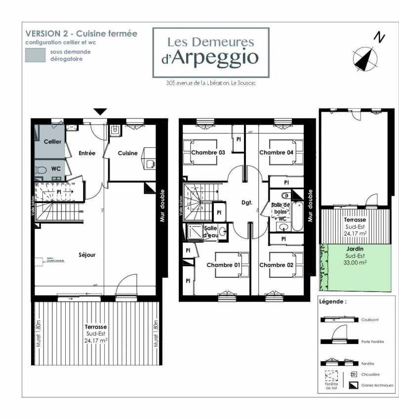 Plan 11, appartement neuf type T5 au Rez de chaussée, orienté Sud faisant 113m² du programme neuf LES DEMEURES D'ARPEGGIO à Le Bouscat.
