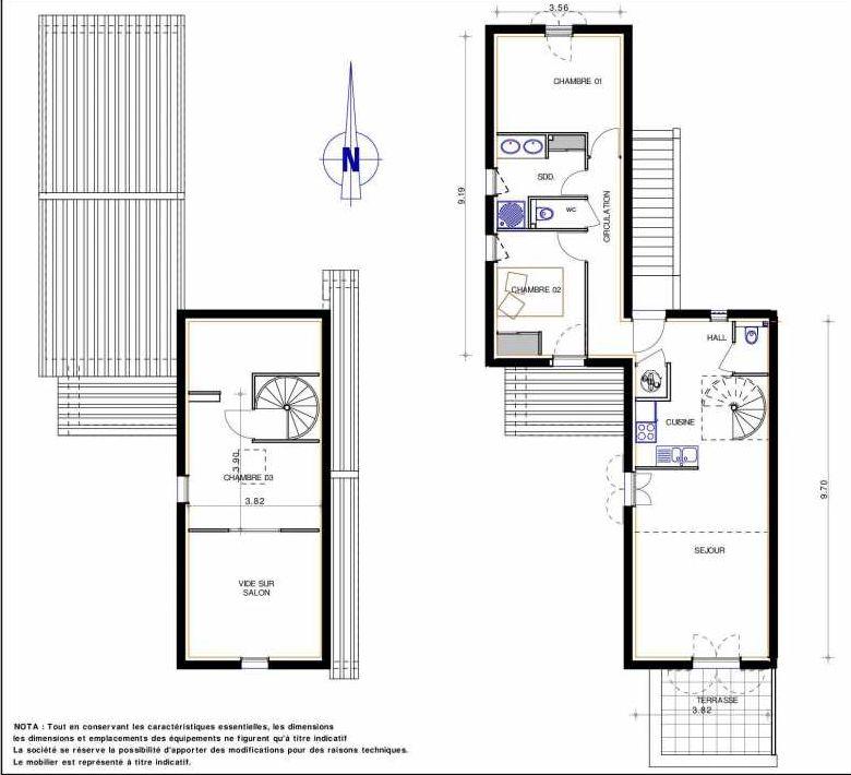 Plan 11, appartement neuf type T4 au 1er étage, orienté Sud faisant 81m² du programme neuf LES JARDINS D'ADELAIDE à Grimaud.