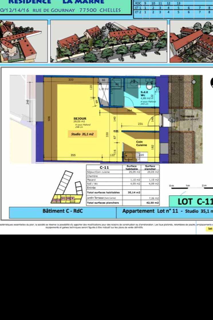 Plan 11, appartement neuf type T1 au Rez de chaussée, faisant 35m² du programme neuf Rue de Gournay - Bat C à Chelles.