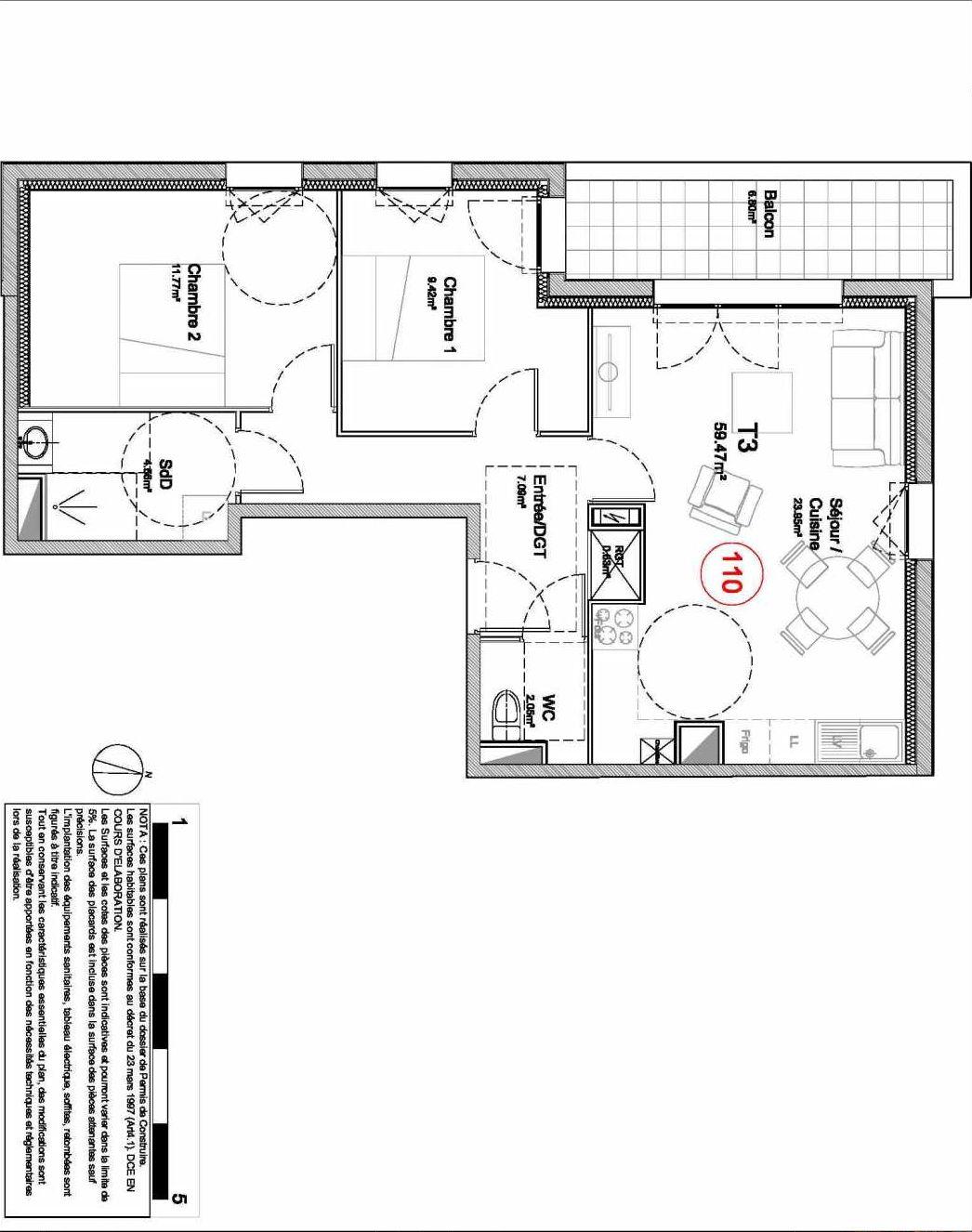 Plan 110, appartement neuf type T3 au 1er étage, orienté Ouest faisant 59m² du programme neuf 194 OUEST AVENUE à Déville-lès-Rouen.