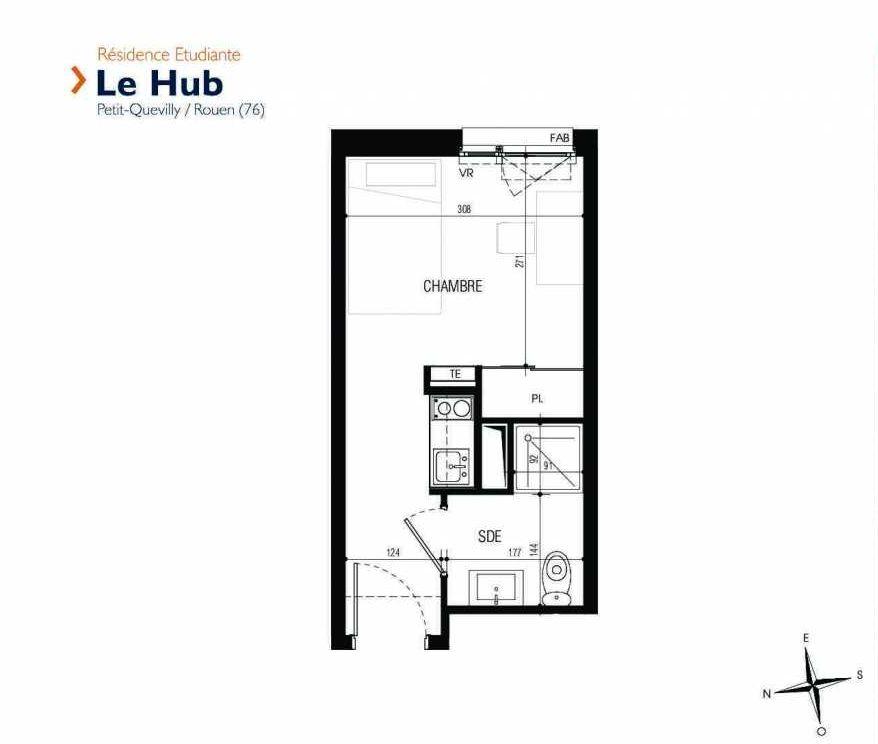 Plan 110, appartement neuf type T1 au 1er étage, faisant 17m² du programme neuf Le Hub à Le Petit-Quevilly.
