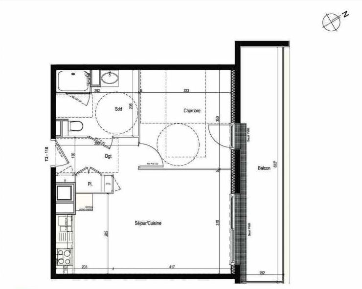 Plan 110, appartement neuf type T2 au 1er étage, faisant 43m² du programme neuf Les Boréales à Rouen.