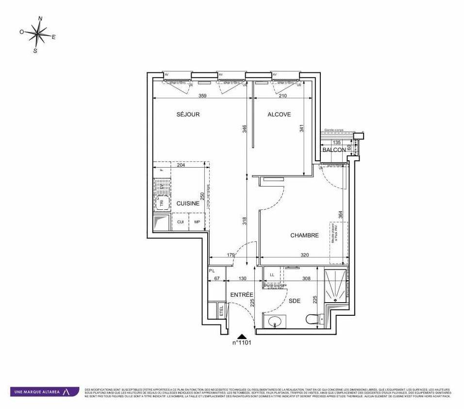 Plan 1101, appartement neuf type T2 au 1er étage, orienté Ouest faisant 49m² du programme neuf 18 RUE CHARLES MARTIGNY à Maisons-Alfort.