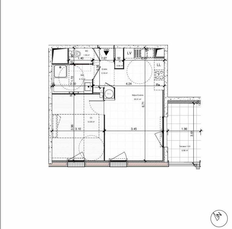 Plan 1101, appartement neuf type T2 au 1er étage, orienté Sud faisant 42m² du programme neuf 1PULSION ACCESSION à Dijon.