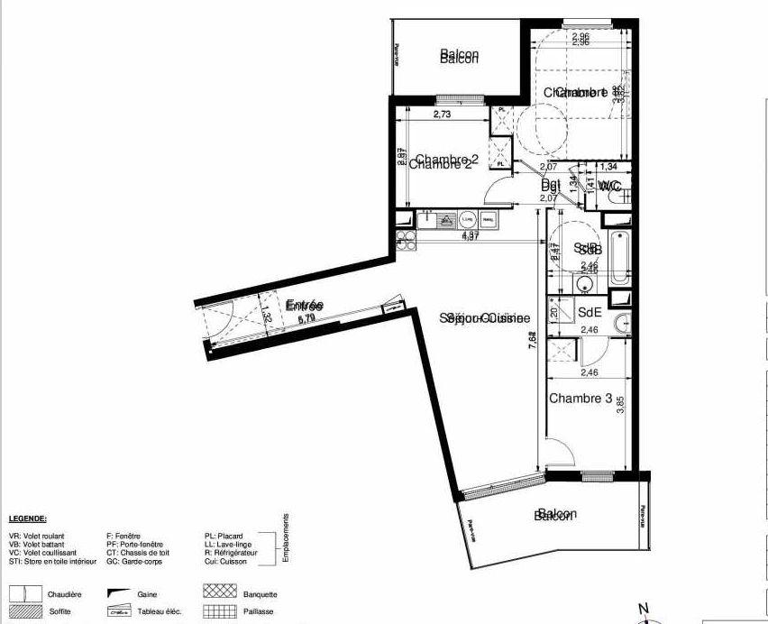 Plan 1101, appartement neuf type T4 au 1er étage, orienté Sud faisant 80m² du programme neuf LES JARDINS D'ARGELIES BÂTIMENT 1 ET 2 à Juvisy-sur-Orge.