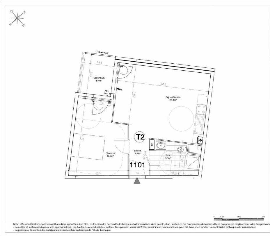 Plan 1101, appartement neuf type T2 au 1er étage, orienté Ouest faisant 45m² du programme neuf LES JARDINS D'AUNAIS ACCESSION à Aulnay-sous-Bois.