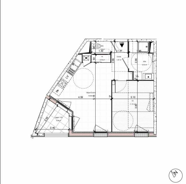 Plan 1102, appartement neuf type T2 au 1er étage, orienté Sud faisant 40m² du programme neuf 1PULSION ACCESSION à Dijon.