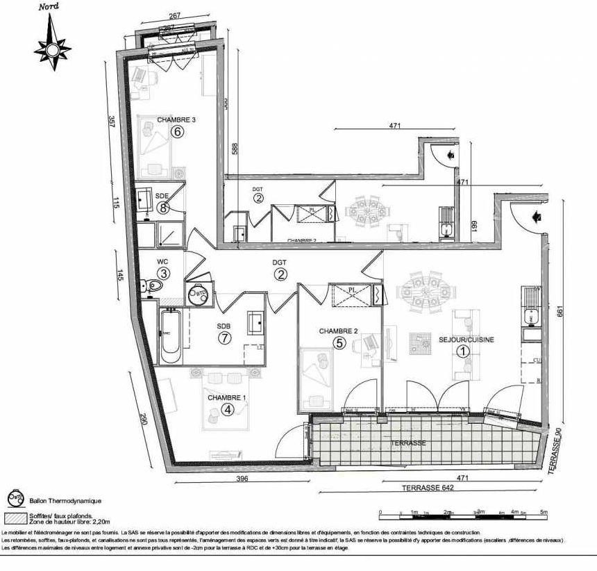 Plan 1102, appartement neuf type T4 au 1er étage, orienté Sud faisant 76m² du programme neuf LE CLOS DU VAL A OSNY 55 LOTS à Osny.